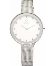 Obaku V161LXCIMC Ladies pedra definir tom de prata pulseira de malha de relógio