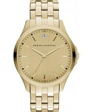 Armani Exchange AX2167 dos homens vestido banhado a ouro pulseira relógio