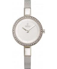 Obaku V129LECIMC pedra Ladies set tom de prata malha magro pulseira de relógio