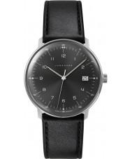 Junghans 041-4462-00 bill Max couro preto relógio pulseira