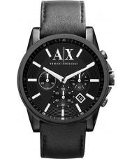 Armani Exchange AX2098 pulseira de couro preta relógio de vestido cronógrafo dos homens