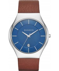 Skagen SKW6160 Mens Grenen luz relógio com pulseira de couro marrom