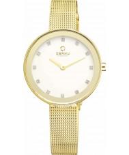 Obaku V161LXGIMG Senhoras de pedra conjunto banhado a ouro de malha pulseira relógio