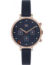 Orla Kiely OK2042 Ladies hera cronógrafo com pulseira de couro da marinha relógio