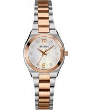 Bulova 98S143 galeria das senhoras diamante dois tons pulseira de aço relógio