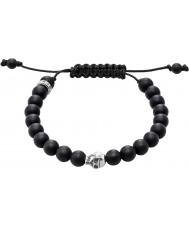 Thomas Sabo A1118-172-11-L Bracelete de peru obsidiana preto com crânio de prata