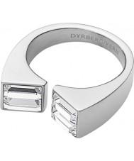Dyrberg Kern 339078 Ladies quadro iii anel de aço de prata com elementos Swarovski - tamanho q
