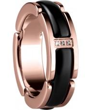 Bering Time 502-36-55-J Senhoras preto de cerâmica e anel de ouro rosa - tamanho j