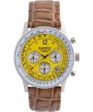 Krug-Baumen 400519DS viajante Air mostrador amarelo pulseira marrom