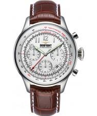 Dogfight DF0034 Mens Wingman marrom relógio de couro cronógrafo