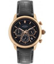 Rotary GS02879-04 relógios Mens monaco relógio cronógrafo preto