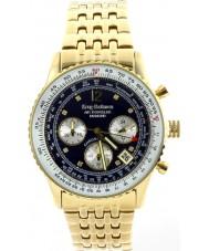 Krug-Baumen 400104DS Air diamante viajante ouro azul de marcação banhado a pulseira