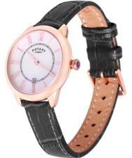 Rotary LS02919-41 Senhoras relógios Elise couro preto relógio pulseira
