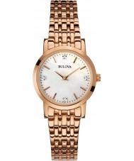 Bulova 97P106 Ladies diamante rosa banhado a ouro pulseira relógio