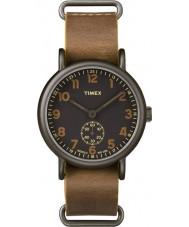 Timex TW2P86800 Mens weekender tan couro relógio pulseira