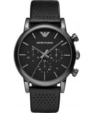 Emporio Armani AR1737 Mens clássico cronógrafo ip de couro preto pulseira de relógio