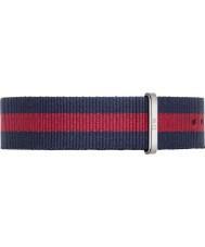Daniel Wellington DW00200015 Mens clássico oxford 40 milímetros prata nylon azul e vermelho pulseira de reposição