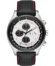 Armani Exchange AX1611 preto pulseira de couro relógio desportivo cronógrafo dos homens