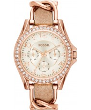 Fossil ES3466 Ladies riley areia pulseira de couro relógio