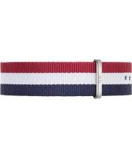 Daniel Wellington DW00200017 Mens clássico Cambridge 40 milímetros prata azul de nylon branco e vermelho pulseira de reposição