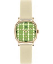 Orla Kiely OK2052 Senhoras cecelia couro creme florido pulseira de relógio verde