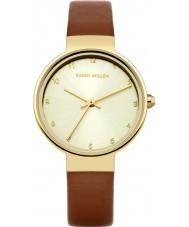 Karen Millen KM131TG Senhoras de couro marrom relógio de pulseira