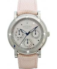 Rotary RLS00024-07-W Senhoras relógios de couro branco relógio cinta cronógrafo