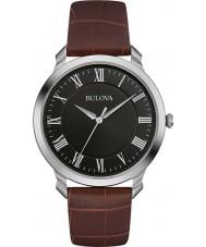 Bulova 96A184 vestido dos homens de couro marrom relógio de pulseira
