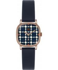 Orla Kiely OK2054 Senhoras cecelia marinho florido relógio com pulseira de couro