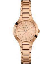 Bulova 97L151 vestido das senhoras ouro rosa relógio banhado