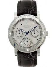 Rotary RLS00024-07-BLK Senhoras relógios de couro preto relógio cinta cronógrafo