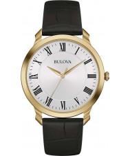 Bulova 97A123 vestido Mens couro preto relógio pulseira