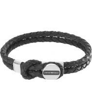 Emporio Armani EGS2178040 assinatura dos homens pulseira de couro preto