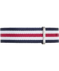Daniel Wellington DW00200016 Mens clássico Canterbury 40 milímetros prata azul de nylon branco e vermelho pulseira de reposição