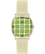Orla Kiely OK2058 Senhoras cecelia couro creme florido pulseira de relógio verde