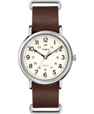 Timex T2P495 marrom relógio de pulseira de couro Weekender