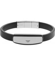 Emporio Armani EGS2186040 assinatura dos homens pulseira de couro preto