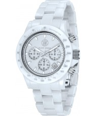 Klaus Kobec KK-10015-03 Racer branco relógio cronógrafo de cerâmica