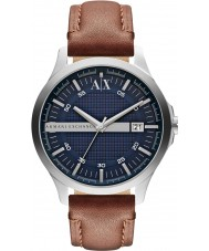 Armani Exchange AX2133 couro marrom relógio de vestido de alça dos homens
