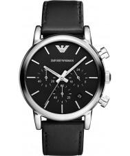 Emporio Armani AR1733 Mens clássico cronógrafo de couro preto pulseira de relógio