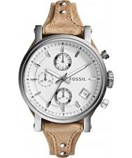 Fossil ES3625 As senhoras originais namorado relógio com pulseira de couro cronógrafo óssea