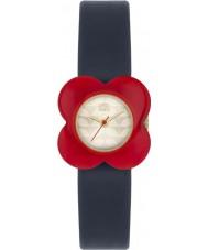 Orla Kiely OK2062 As senhoras da flor da papoila vermelha pulseira de couro caso da marinha relógio