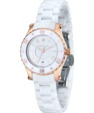 Klaus Kobec KK-10016-01 Senhoras aurora ouro rosa e relógio de cerâmica branca
