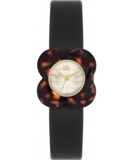 Orla Kiely OK2064 Ladies poppy concha de tartaruga caso flor de couro preto pulseira de relógio