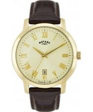 Rotary GS02462-03 Mens relógios Sloane couro marrom relógio de pulseira