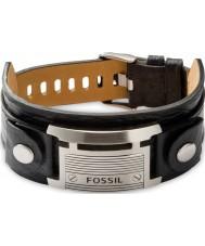 Fossil JF84816040 Mens pulseira de couro preto ocasional do vintage