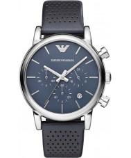 Emporio Armani AR1736 Mens clássico cronógrafo de couro azul pulseira de relógio