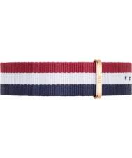 Daniel Wellington DW00200003 Mens clássico 40 milímetros Cambridge aumentou nylon branco e vermelho pulseira de reposição ouro azul