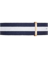 Daniel Wellington DW00200004 Mens clássico 40 milímetros glasgow subiu azul e branco de nylon cinta de reposição de ouro