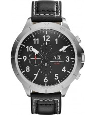 Armani Exchange AX1754 preto pulseira de couro relógio desportivo cronógrafo dos homens